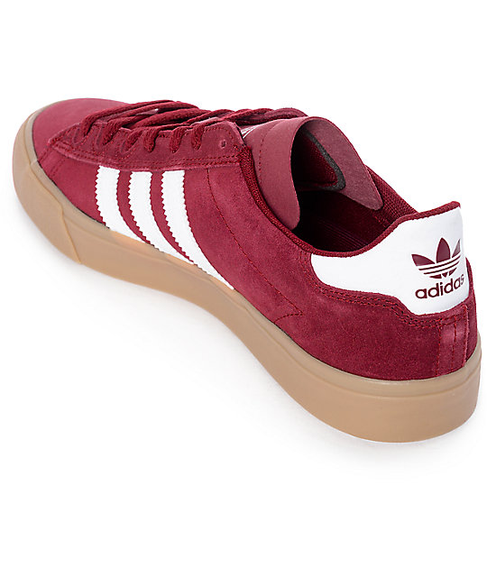 adidas Campus Vulc II Burgundy, White & Gum Shoes