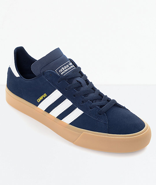 adidas Campus Vulc II Navy & White Gum Shoes