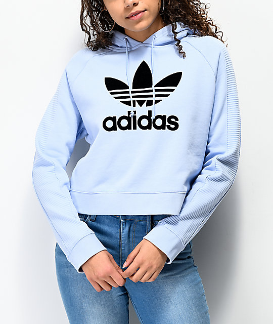 892a51b5 adidas Center Logo Periwinkle Crop Hoodie