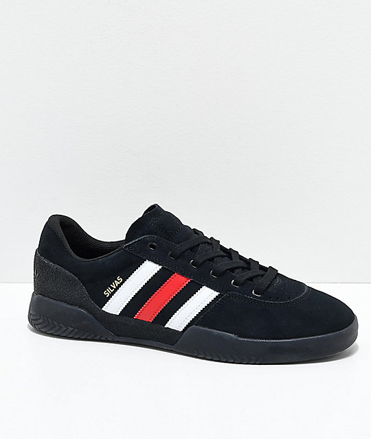 brand new d8421 b6c84 adidas City Cup Silvas Black, White   Red Shoes   Zumiez