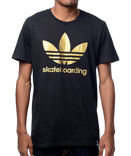 686dbff486d0 adidas Clima 3.0 Solid Fill Black   Gold T-Shirt
