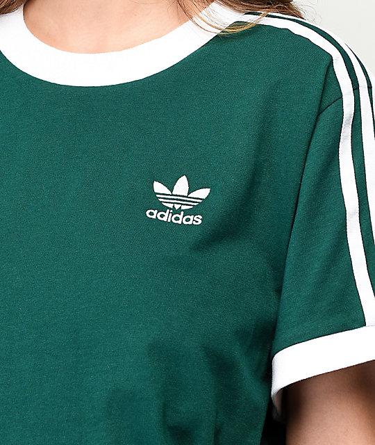 adidas Collegiate camiseta de manga larga verde y blanca de 3-rayas