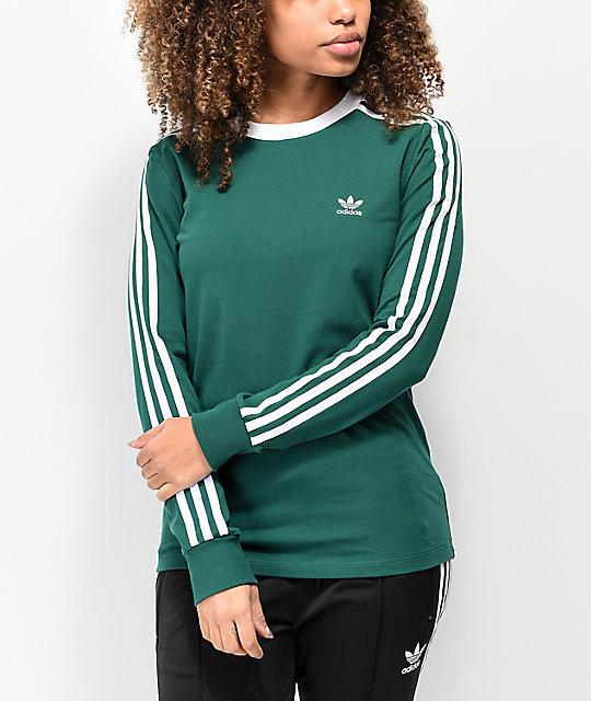 adidas Collegiate camiseta de manga larga verde y blanca de 3 rayas