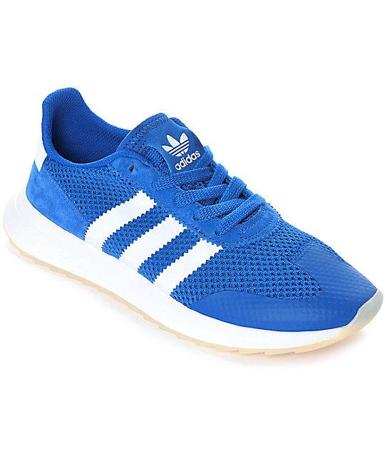 67a0a195b7 adidas Flashback Blue & White Womens Shoes