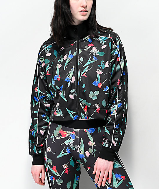 adidas Floral Black Cropped Track Jacket