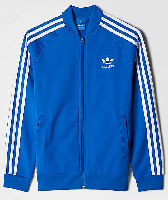buy popular dc627 f1e39 adidas J SST Blue  White Track Jacket  Zumiez.ca