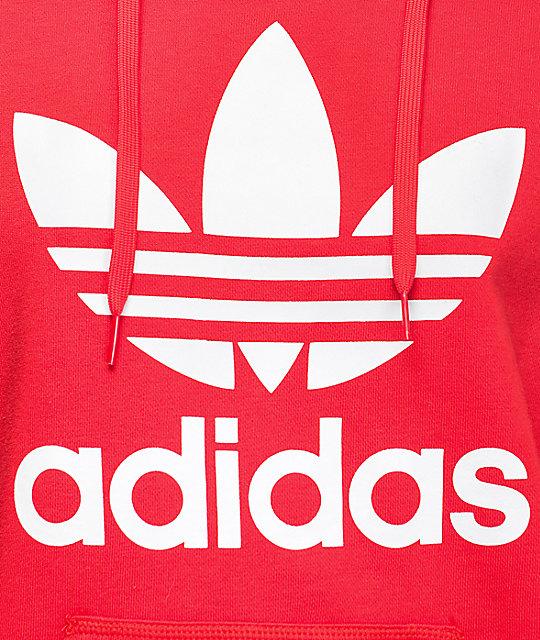 26bde4b1244ba adidas Jacquard Sleeve Trefoil Red Womens Hoodie | Zumiez