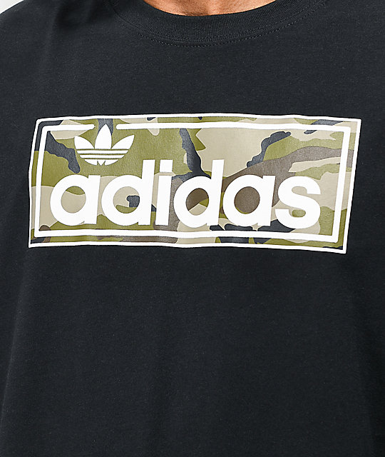 adidas Linear Camo Black Long Sleeve T Shirt