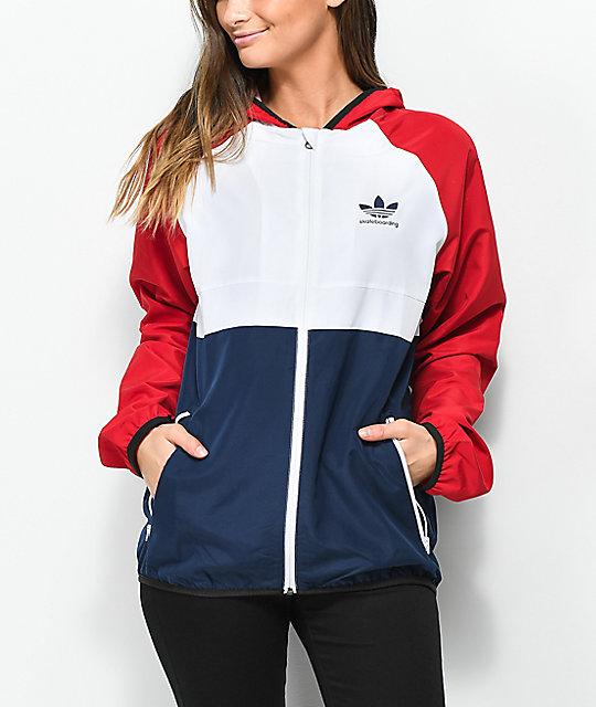 Adidas Mi Skate Red White Blue Windbreaker Jacket Zumiez