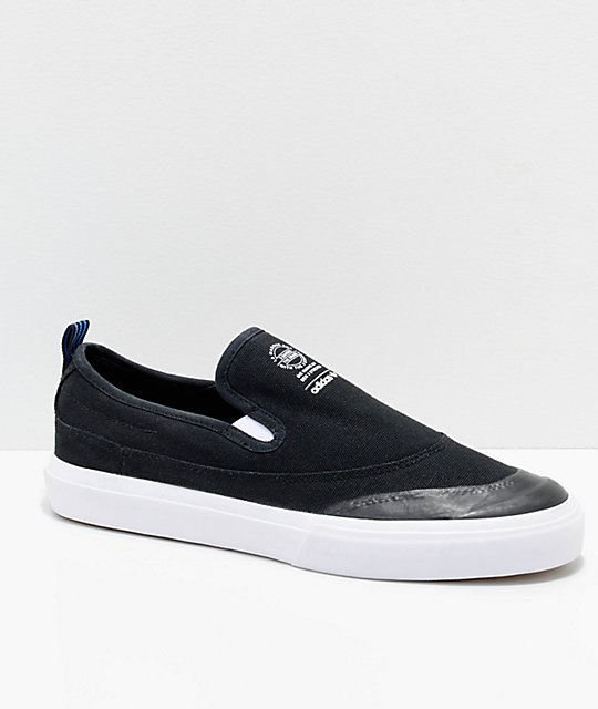 adidas Matchcourt Black, White & Blue Slip On Shoes