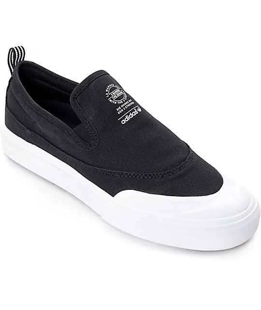 adidas Matchcourt Black \u0026 White Slip On Shoes ...