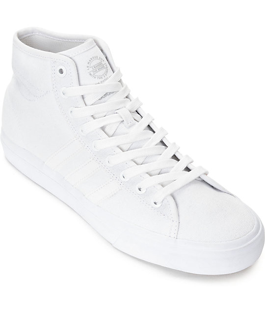 huge selection of 2ebf6 ff08b adidas Matchcourt Hi RX Mono White Canvas Shoes  Zumiez