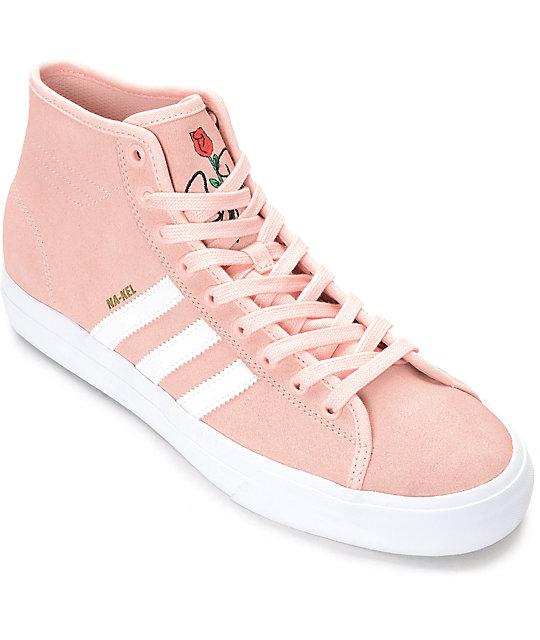 san francisco f2bb7 a41bc adidas Matchcourt Hi RX Pink  White Suede Shoes  Zumiez