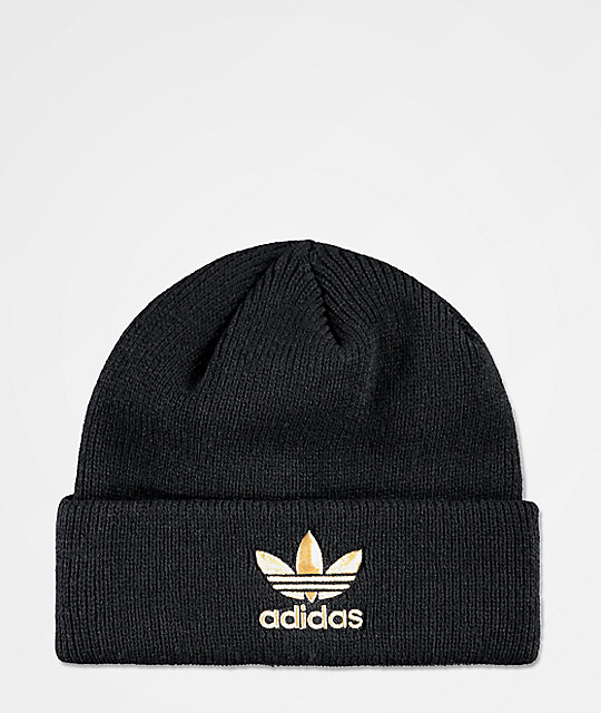 adidas Men s Black   Gold Foil Beanie  745dc26e337