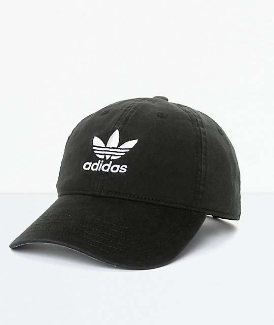 adidas Men s Trefoil Curved Bill Black Strapback Hat  4d61c15ab894
