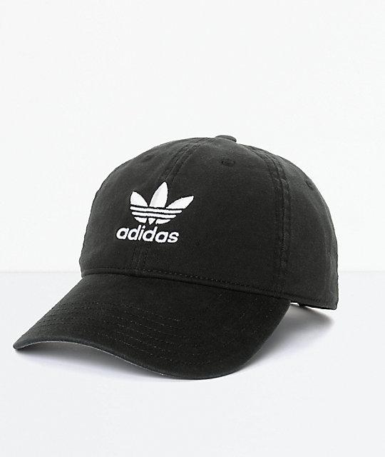 1c3df6e81 adidas Men's Trefoil Curved Bill Black Strapback Hat