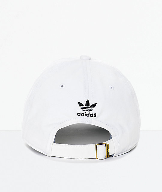 adidas Men's Trefoil Curved Bill White Strapback Hat