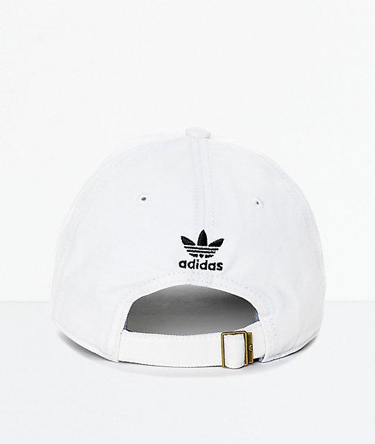 4f229c4249 adidas Men's Trefoil Curved Bill White Strapback Hat | Zumiez
