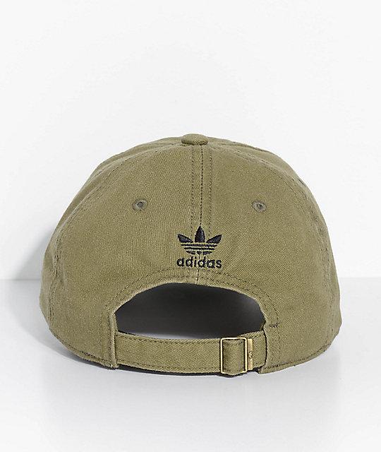 ... adidas Men s Trefoil Olive Washed Strapback Hat ... e23870a1ae1