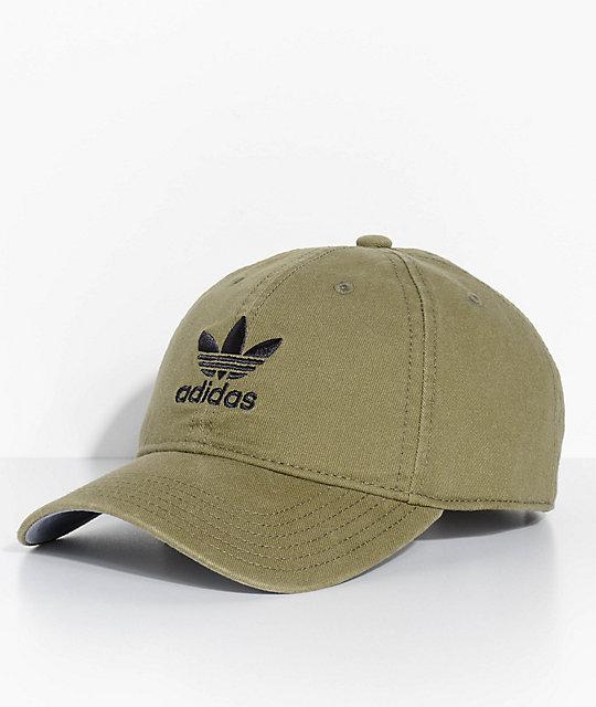 adidas Men s Trefoil Olive Washed Strapback Hat  cc6204fd208