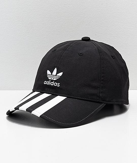 7b96b84c9f5 adidas Mens Relaxed Black   White Striped Strapback Hat