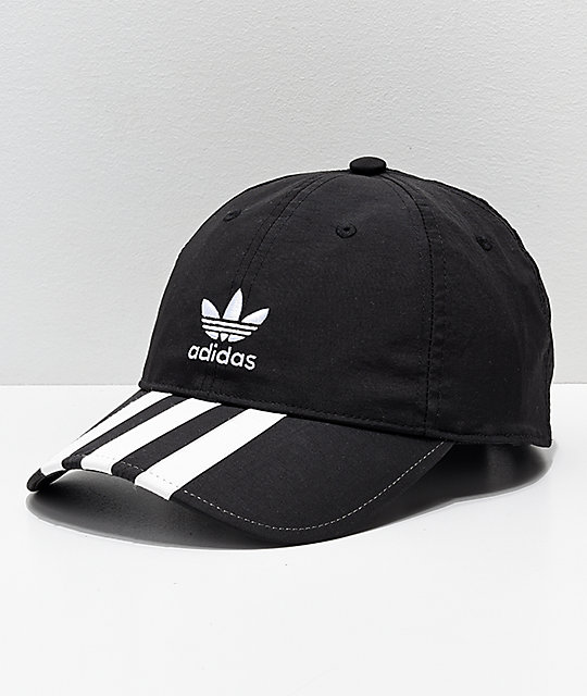 discount sale reasonably priced release date adidas Mens Relaxed Black & White Striped Strapback Hat