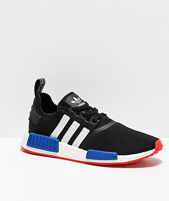 Adidas Nmd R1 Black, White, Red & Blue Shoes by Adidas