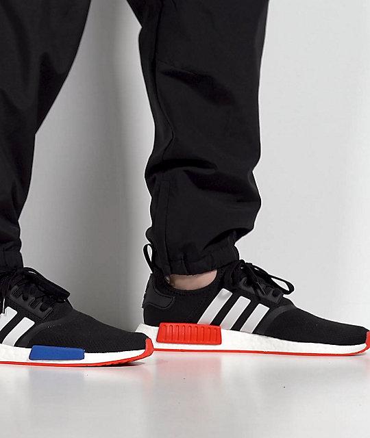 Malabares vena lanzador  adidas NMD R1 zapatos negros, blancos, rojos y azules | Zumiez