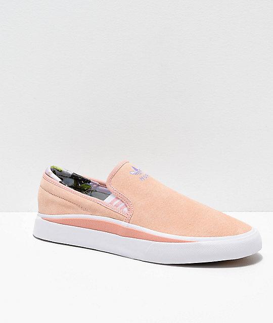 adidas Nora Sabalo Pink & White Slip On Shoes