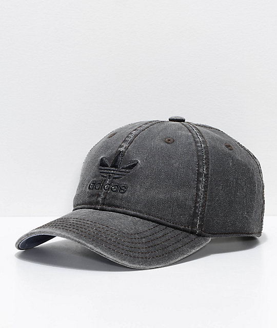 adidas Original Relaxed Washed Black Strapback Hat  09d24e8b3c9