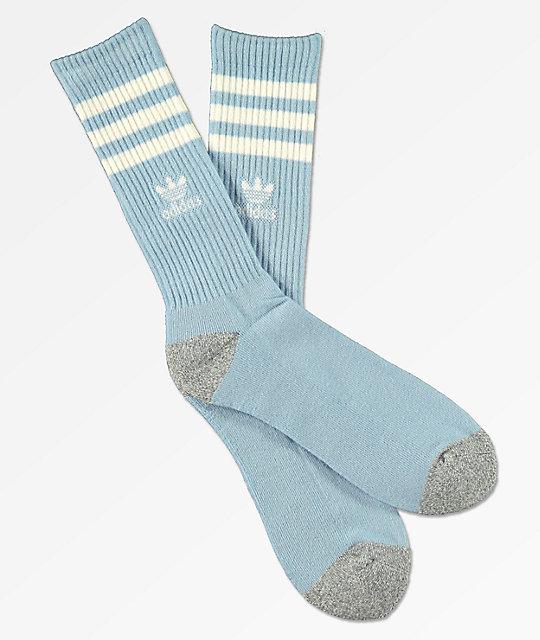 Adidas Original Roller Sky Blue White Crew Socks Zumiez