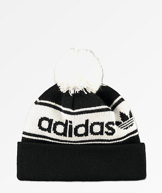 9c2da62073 adidas Originals Black   White Pom Beanie