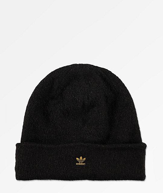 adidas Originals Fuzzy Black   Gold Beanie  3159dad177