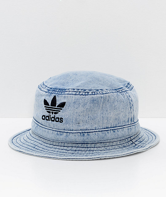 adidas Originals Light Blue Washed Denim Bucket Hat  0462169e6d1