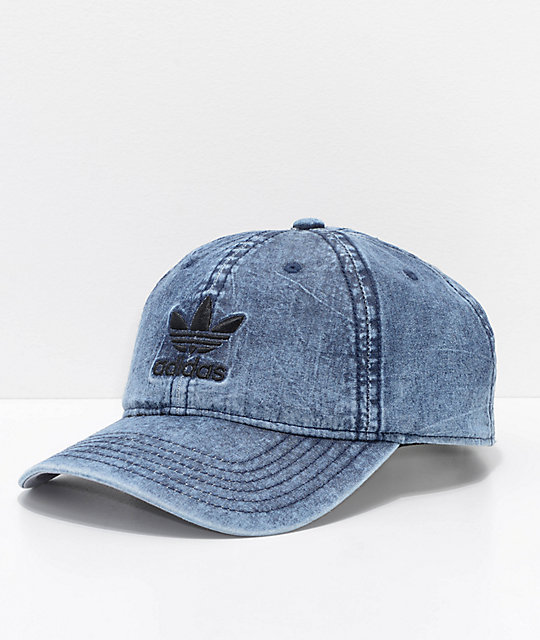 adidas Originals Relaxed Denim   Black Strapback Hat  a739cc146ba