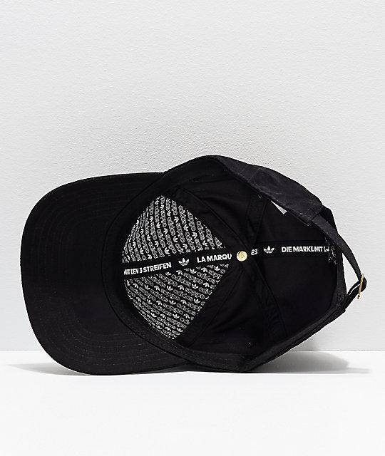 ... adidas Originals Relaxed Metal Black   Gold Strapback Hat cc37fd32708