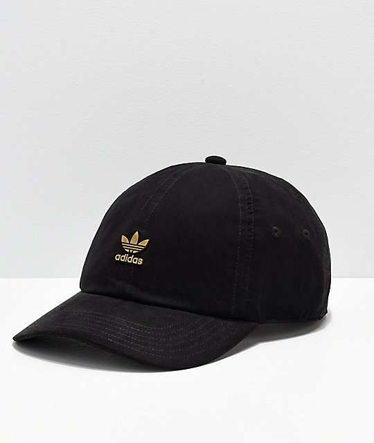 adidas Originals Relaxed Metal Black   Gold Strapback Hat  875da5de550