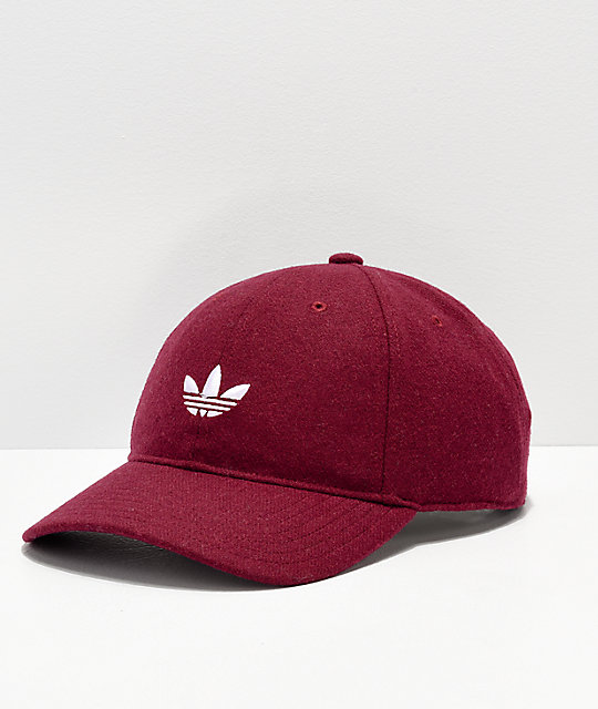 adidas Originals Relaxed Wool Burgundy   White Strapback Hat  2aec3e199