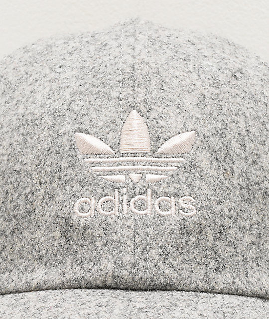 adidas Originals Relaxed Wool Light Grey Strapback Hat
