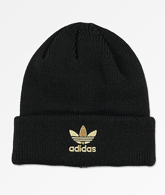 adidas Originals Trefoil Black   Gold Beanie  8139e8b06f4