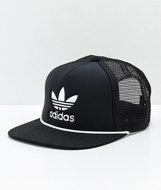 adidas Originals Trefoil Black   White Trucker Hat  28f86963e38