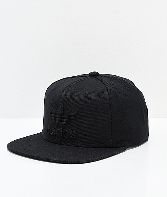 fa4c0acd73404 adidas Originals Trefoil Chain Black & Black Snapback Hat