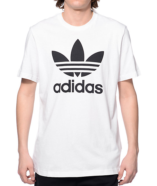 Adidas originals trefoil white t shirt zumiez for Adidas lotus t shirt