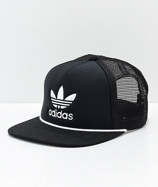 a0b91e921dc3 adidas Originals Trefoil gorra de camionero en negro y blanco