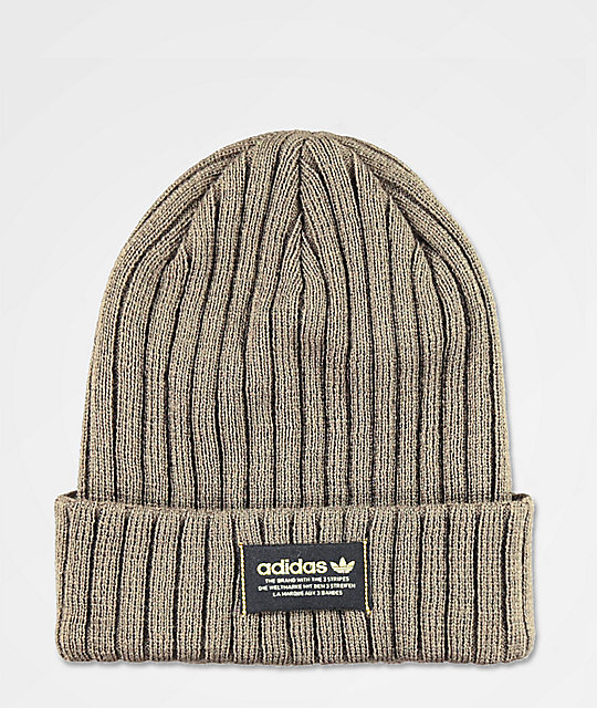 adidas Originals Wide Ribbed Olive Green Beanie  03d4e19f027