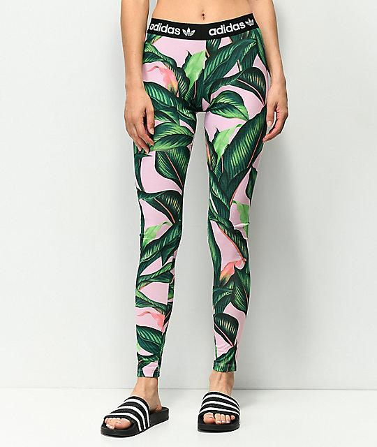 ... adidas Palm Leaf Pink   Green Leggings ... d214e6e3c