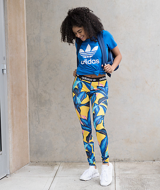 adidas Palm Print Blue Leggings