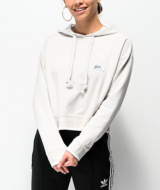 adidas Raw White Cropped Hoodie