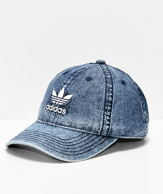 adidas Relaxed Denim   White Strapback Hat  cdaed97b0fe