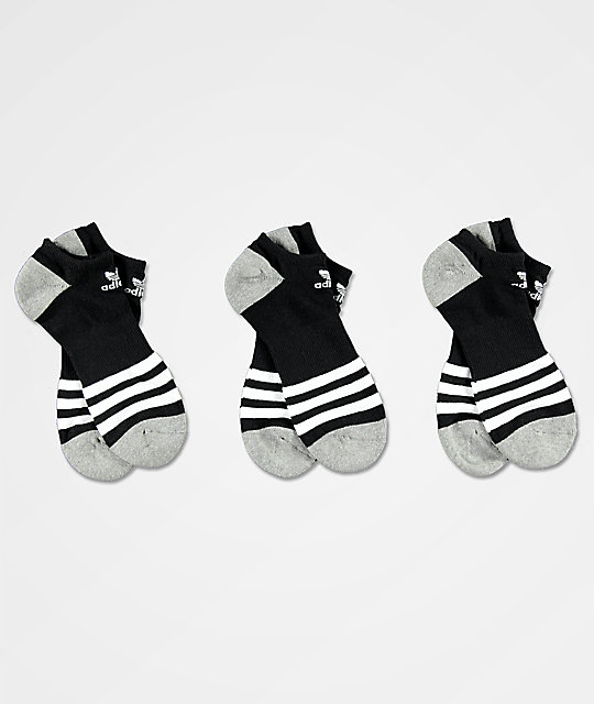 adidas Roller Black, White & Grey 3 Pack No Show Socks